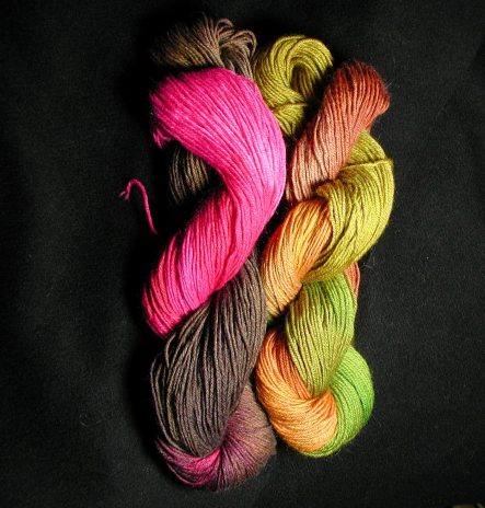 hot pink, Brown, and golden yellow